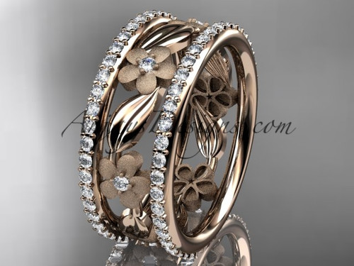 14k rose gold diamond flower wedding band, engagement ring ADLR233B