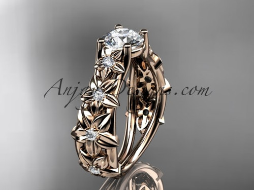 "14kt rose gold diamond floral wedding ring, engagement ring with a ""Forever One"" Moissanite center stone ADLR149"