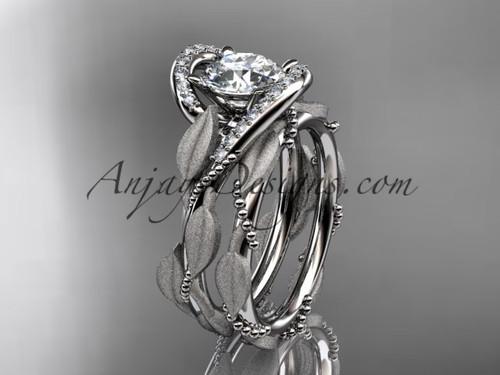 Moissanite Wedding Set, Platinum Leaf Bridal Ring ADLR64S