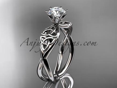 White Gold Diamond Ring, Celtic Trinity Knot Ring  CT7221