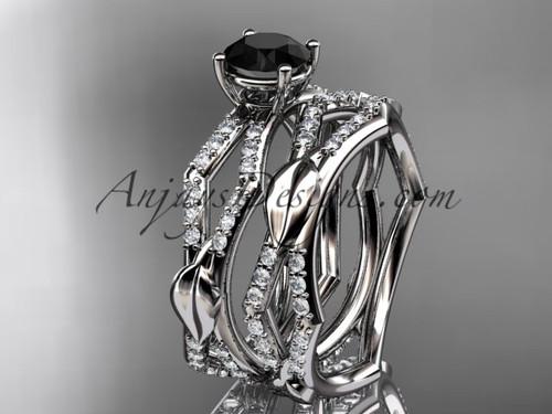 platinum diamond leaf and vine wedding ring, engagement set with a  Black Diamond center stone ADLR353S