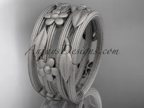 platinum leaf and vine, floral wedding band, engagement ring ADLR242G