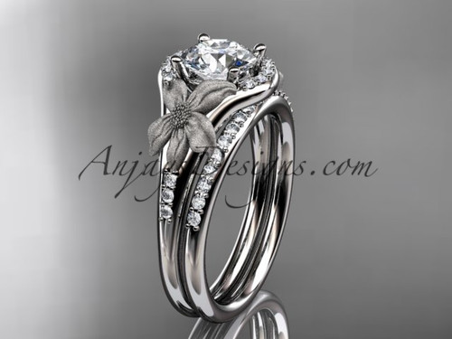 """14kt white gold diamond leaf and vine wedding ring, engagement set with a """"Forever One"""" Moissanite center stone ADLR91S"""