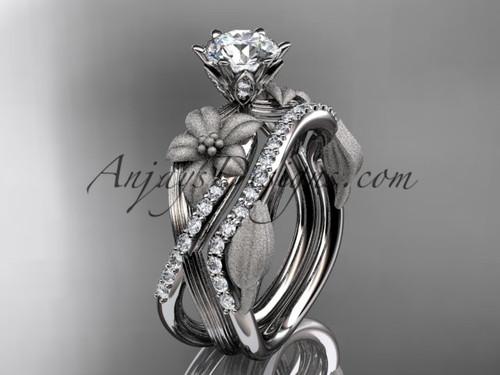 Unique 14kt white gold diamond flower, leaf and vine wedding ring, engagement set ADLR221S