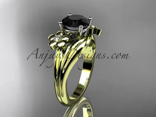 14k yellow gold diamond leaf and vine wedding ring, engagement ring with a Black Diamond center stone ADLR159