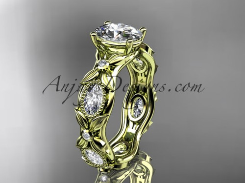 "14kt yellow gold  diamond leaf and vine wedding ring, engagement  ring with a ""Forever One"" Moissanite center stone ADLR152"
