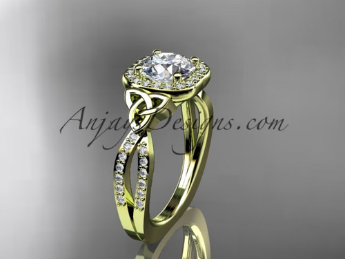"""14kt yellow gold diamond celtic trinity knot wedding ring, engagement ring with a """"Forever One"""" Moissanite center stone CT7393"""