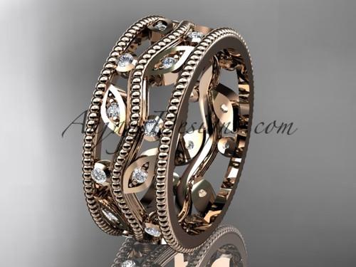 14kt rose gold diamond leaf and vine wedding ring, engagement ring, wedding band ADLR8B