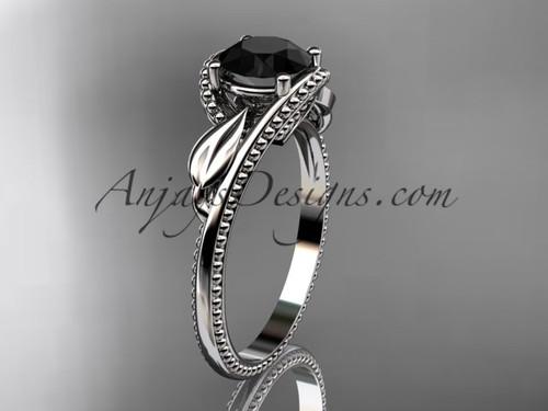 Unique platinum engagement  ring with a Black Diamond center stone ADLR322