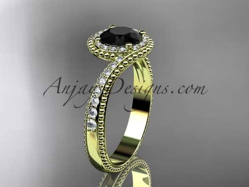 14kt yellow gold halo diamond engagement ring with a  Black Diamond center stone ADLR379