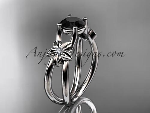 platinum diamond floral wedding ring, engagement ring with a Black Diamond center stone ADLR130