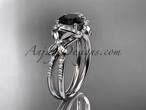 platinum diamond floral wedding ring, engagement ring with a Black Diamond center stone ADLR140