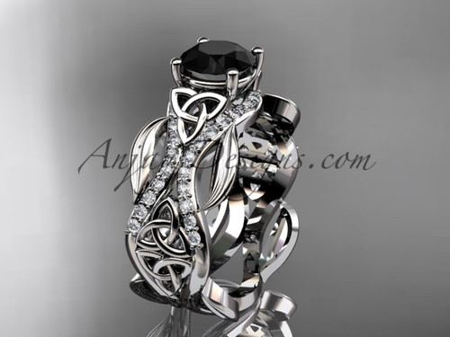 14kt white gold diamond celtic trinity knot wedding ring, engagement ring with a Black Diamond center stoneCT7515