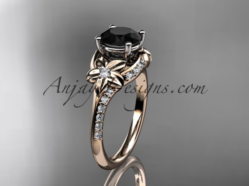 14kt rose gold diamond floral wedding ring, engagement ring with a Black Diamond center stone ADLR125