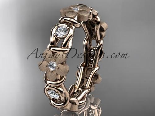 14kt rose gold diamond flower wedding ring, engagement ring, wedding band ADLR197B