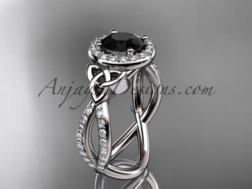 platinum diamond celtic trinity ring,  triquetra ring, Irish engagement ring with a  Black Diamond center stone CT7374