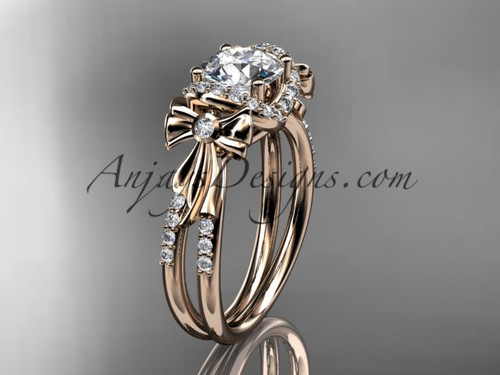 Unique Bow Wedding Ring, Moissanite  Engagement Ring ADER155