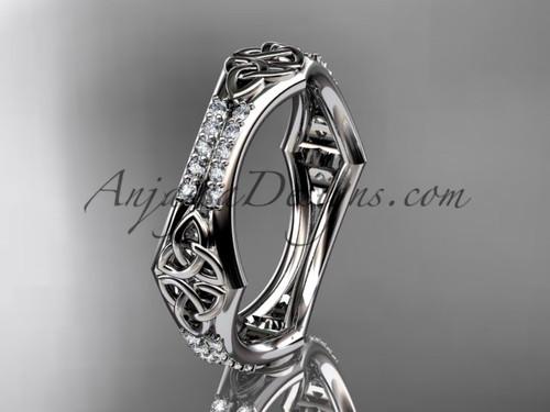 platinum diamond celtic trinity knot wedding band,  triquetra ring, engagement  ring CT7353B