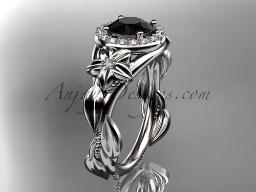 14k white gold diamond unique leaf and vine, floral engagement ring with a Black Diamond center stone ADLR327