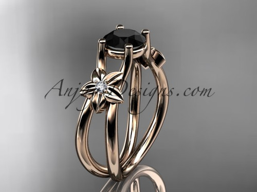 14kt rose gold diamond floral wedding ring, engagement ring with a Black Diamond center stone ADLR130