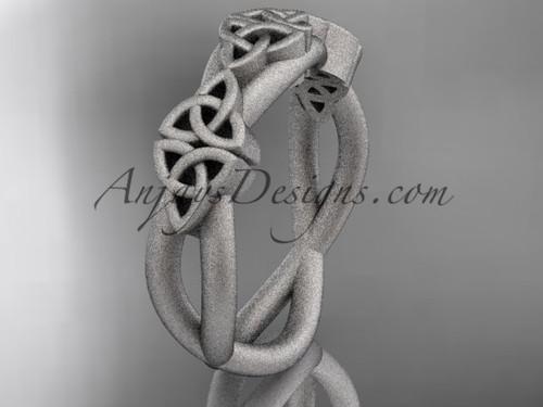 14kt white gold celtic trinity knot wedding band, matte finish wedding band, engagement  ring CT7505G