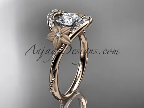 Flower Wedding Rings, Rose Gold Unique Bridal Ring ADLR166
