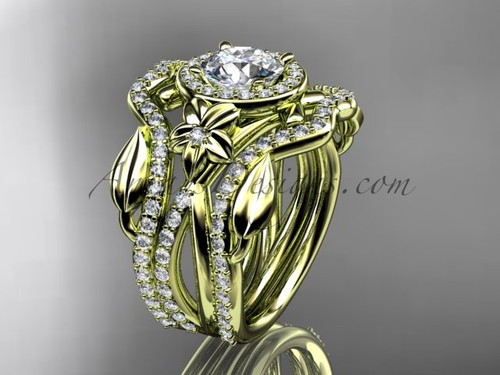 """14kt yellow gold diamond leaf and vine, flower engagement ring, wedding ring,  with  """"Forever One"""" Moissanite center stone and double matching band ADLR89S"""