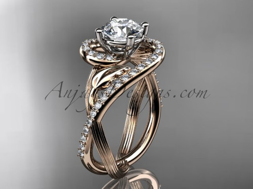 """Unique 14kt rose gold diamond leaf and vine wedding ring, engagement ring with a """"Forever One"""" Moissanite center stone ADLR222"""