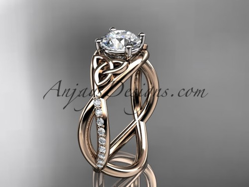"14kt rose gold celtic trinity knot engagement ring, wedding ring with a ""Forever One"" Moissanite center stone CT790"