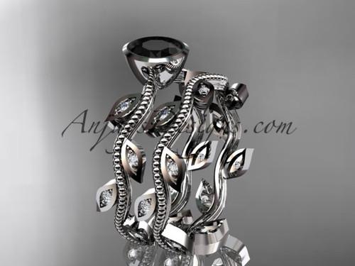 platinum diamond leaf and vine wedding ring, engagement ring, engagement set with a Black Diamond center stone ADLR213S