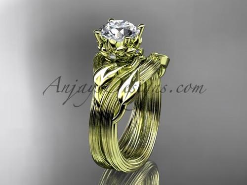 14kt yellow gold diamond flower, leaf and vine wedding ring, engagement set ADLR240S