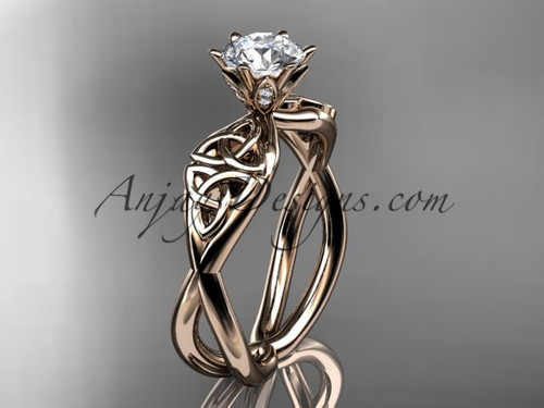 Celtic Bridal Ring, Rose Gold Moissanite Wedding Ring CT7221