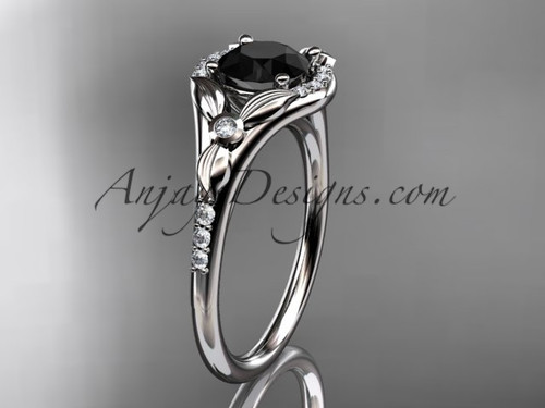14kt white gold diamond floral wedding ring, engagement ring with a Black Diamond center stone ADLR126