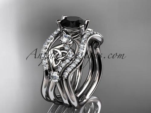 Celtic Bridal Ring Set White Gold  Black Diamond Ring CT768S