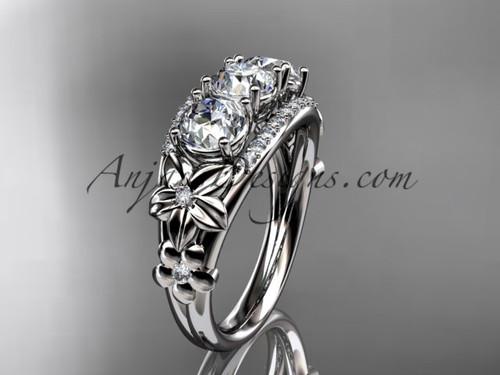 Platinum diamond flower 3 stone Forever One Moissanite wedding ring ADLR203