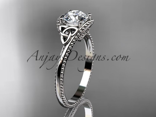 "14kt white gold celtic trinity knot wedding ring, engagement ring with a ""Forever One"" Moissanite center stone CT7322"