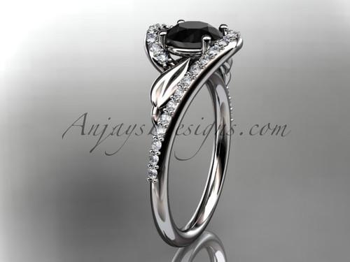 Platinum diamond leaf and vine wedding ring, engagement ring with a Black Diamond center stone ADLR317
