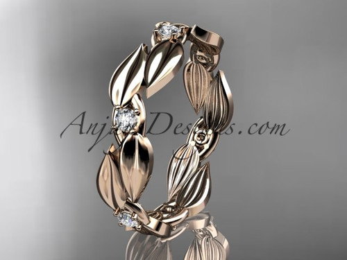 Leaf Rose Gold Wedding Band -  Diamond Ring ADLR58B
