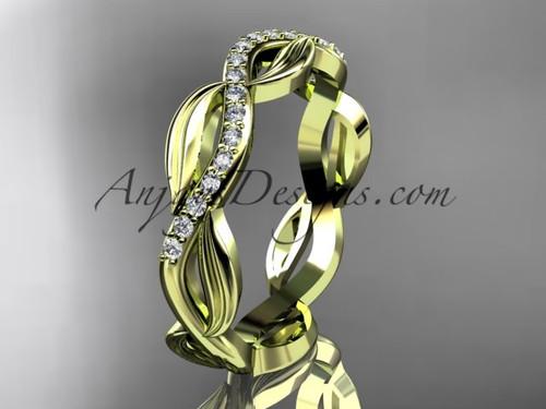 14kt yellow gold diamond leaf and vine wedding ring, engagement ring, wedding band ADLR100B