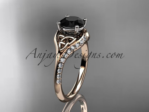 14kt rose gold diamond celtic trinity knot wedding ring, engagement ring with a Black Diamond center stone CT7125