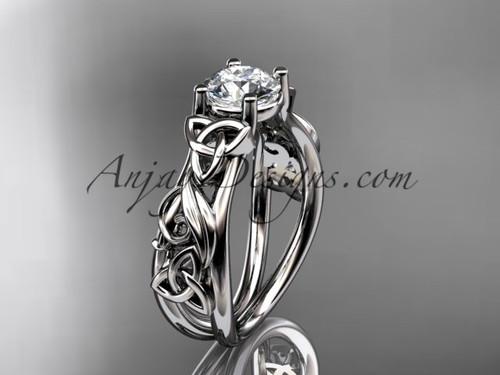 Moissanite Platinum Celtic Triquetra Wedding Ring CT7216