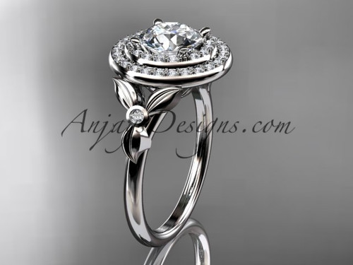 "14kt white gold diamond floral wedding ring, engagement ring with a ""Forever One"" Moissanite center stone ADLR133"
