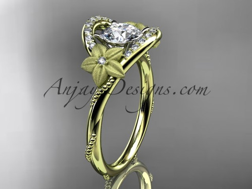 Flower Diamond Ring Yellow Gold Unique Marriage Ring ADLR166