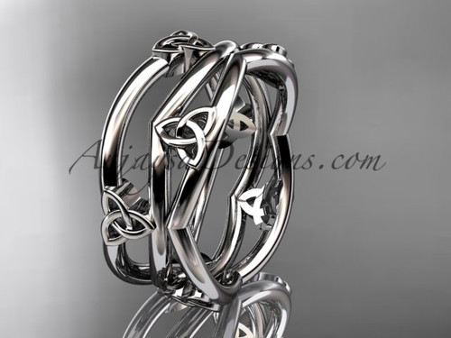 14kt white gold celtic trinity knot wedding band, engagement  ring CT7350G
