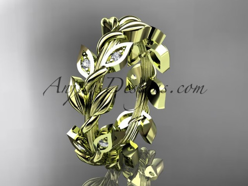 14kt yellow gold diamond leaf wedding ring, wedding band ADLR120B