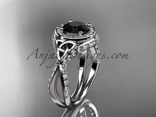 14kt white gold diamond celtic trinity knot wedding ring, engagement ring with a Black Diamond center stone CT7416
