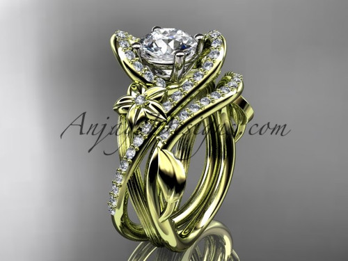 14k yellow gold leaf and flower diamond unique engagement set, wedding ring ADLR369S