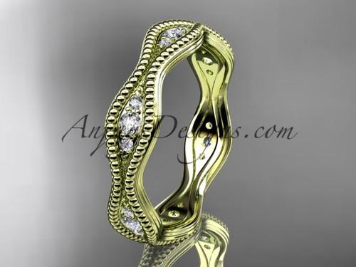 14kt yellow gold diamond leaf and vine wedding ring, engagement ring, wedding band ADLR50B