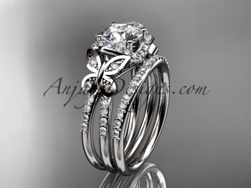 """platinum diamond butterfly wedding ring, engagement set with a """"Forever One"""" Moissanite center stone ADLR141S"""