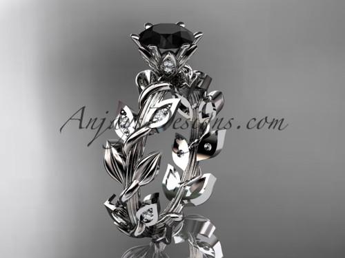 platinum diamond leaf and vine engagement ring with a Black Diamond center stone ADLR124